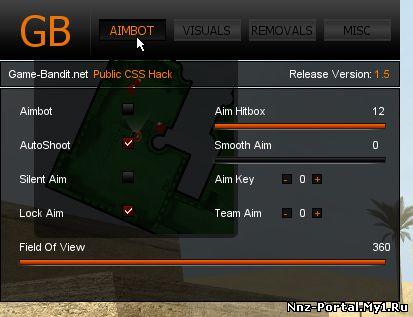 Очень фунцкиональный чит для css. Имеет много настроек, а также красивый интерфейс.Game-Bandit 1.5